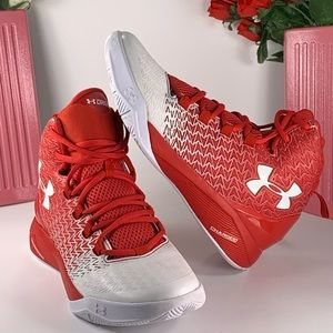 Under Armour Red/White High Top Basketball Size 6Y
